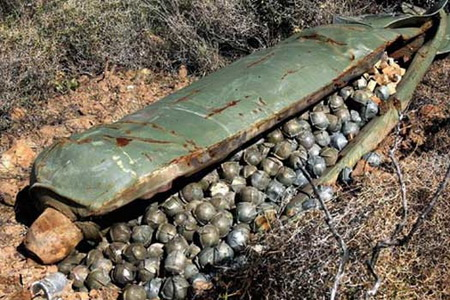 Ho Chi Minh Trail cluster bomb casings